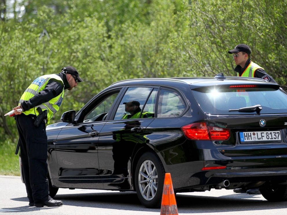 PHOTO: Police officers stop a car on a road a day before the G7 Summit in Krun, Germany on June 6, 2015.