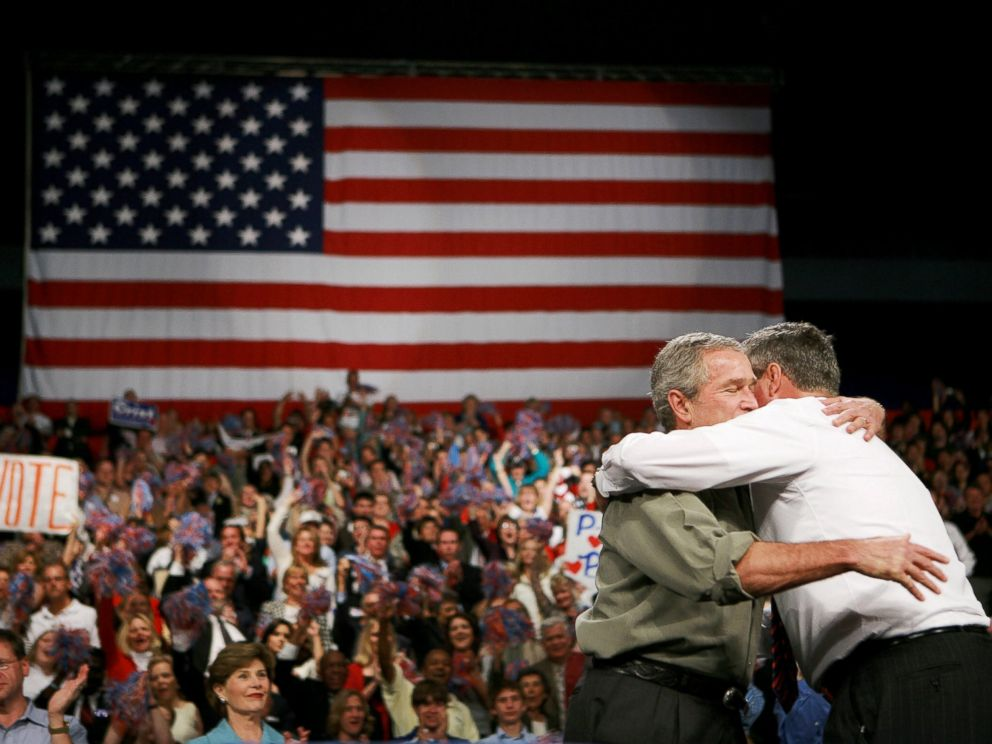 PHOTO: George W. Bush hugs his brother, Jeb Bush, right, during a campaign rally at the Pensacola Civic Center, Nov. 6, 2006, in Pensacola, Fla.