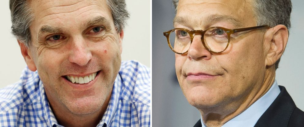 PHOTO: Left, in this June 12, 2014 file photo, Republican Senate candidate Mike McFadden is seen; right, Sen. Al Franken, D-Minn. speaks during a news conference on Capitol Hill in Washington.