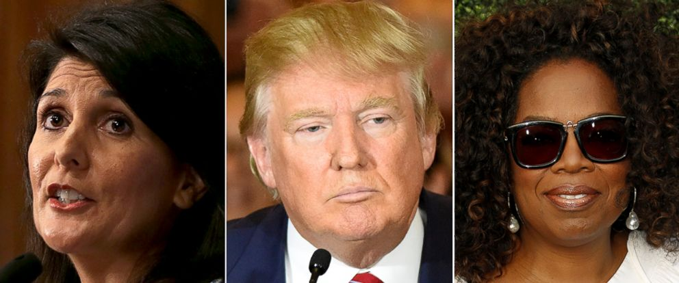 PHOTO: Although others have expressed interest in becoming Donald Trumps running mate, both Nikki Haley, left, and Oprah are disinterested in the position.