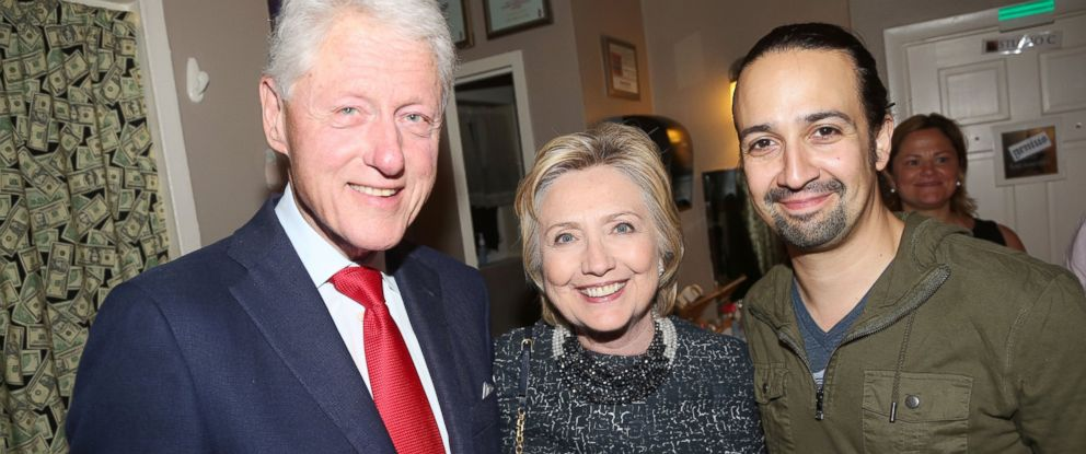 "PHOTO: Bill Clinton, Hillary Clinton and Lin-Manuel Miranda pose backstage at the hit musical ""Hamilton"" on Broadway at The Richard Rogers Theatre, July 2, 2016, in New York City."