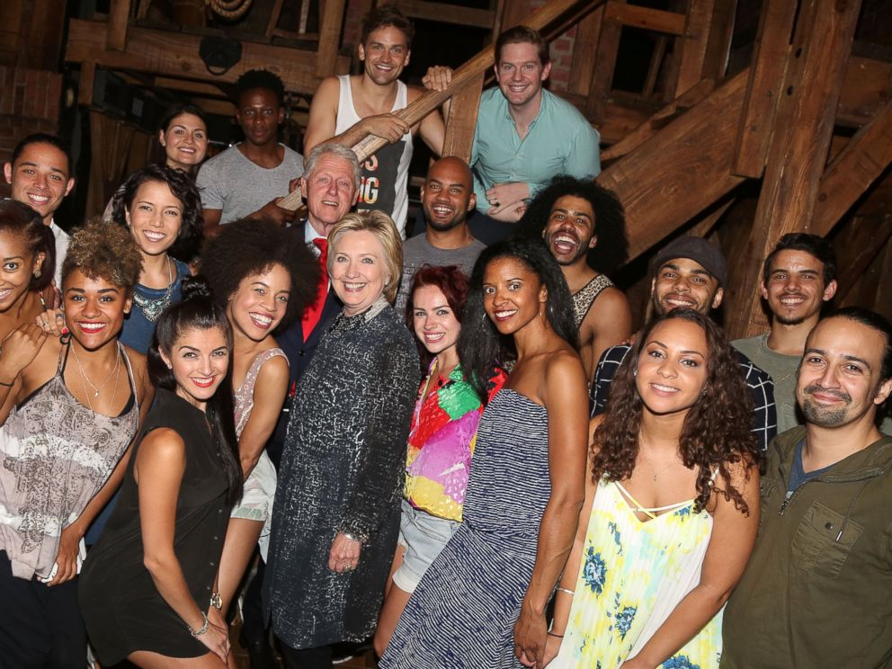 PHOTO: Hillary Clinton, Bill Clinton and Lin-Manuel Miranda pose backstage with the cast at the hit musical Hamilton on Broadway, July 2, 2016, in New York City.