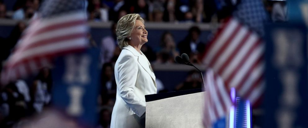 PHOTO: Democratic presidential nominee Hillary Clinton acknowledges the crowd as she arrives on stage during the fourth day of the Democratic National Convention at the Wells Fargo Center, July 28, 2016, in Philadelphia.