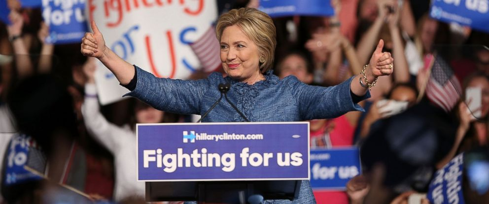 PHOTO: Democratic presidential candidate Hillary Clinton speaks to her supporters during her primary night event at the Palm Beach County Convention Center, March 15, 2016, in West Palm Beach, Florida.