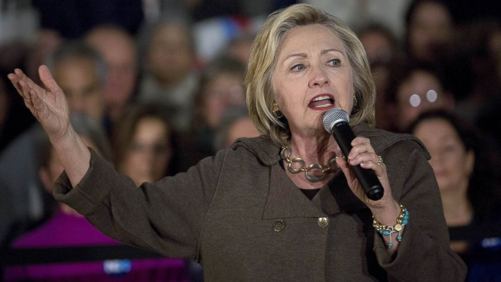 Hillary Clinton speaks during a town hall meeting at Keene High School in Keene, New Hampshire, Jan. 3, 2016.