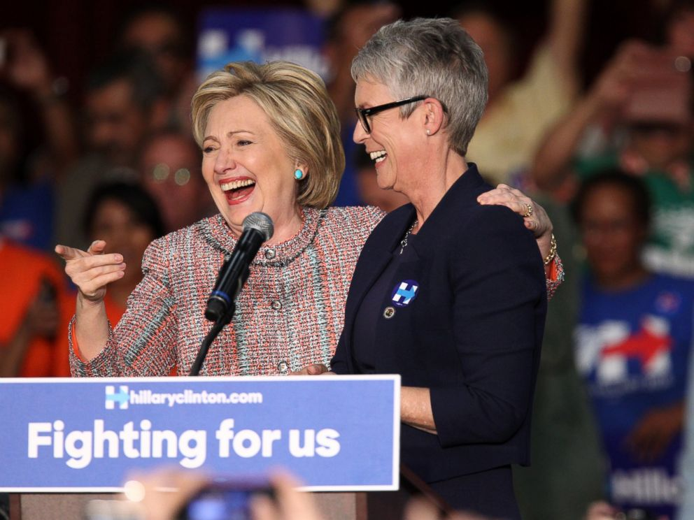 PHOTO:Democratic presidential candidate Hillary Clinton and actress Jamie Lee Curtis speak at an event at the UFCW Union Local 324, May 25, 2016, in Buena Park, Calif.