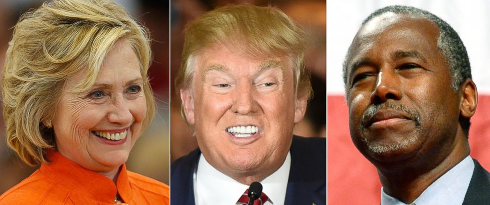 PHOTO: (L-R) Hillary Clinton in North Las Vegas, Nevada, Aug. 18, 2015 , Donald Trump in New York City, Sept. 3, 2015 and Ben Carson in Anaheim, Calif., Sept. 9, 2015.