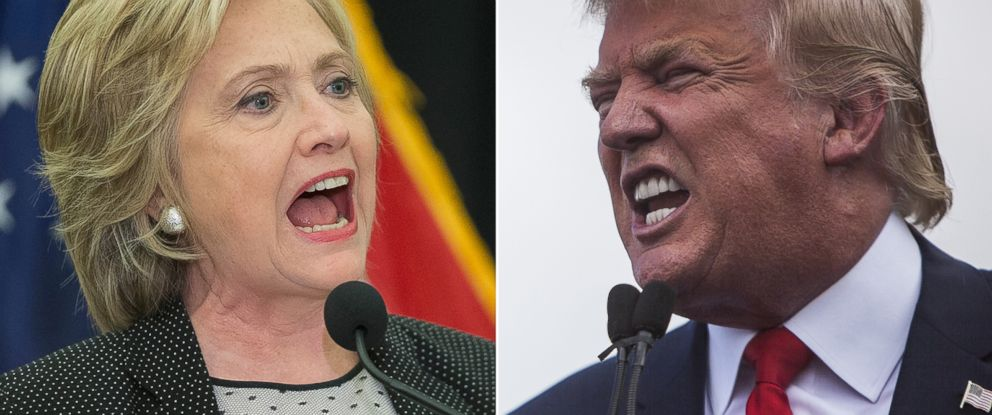 PHOTO: Democratic presidential candidate Hillary Clinton, left, speaks in Milwaukee, Sept. 10, 2015 and Candidate for the Republican Presidential nominee Donald Trump speaks at the Capitol in Washington, Sept. 9, 2015.