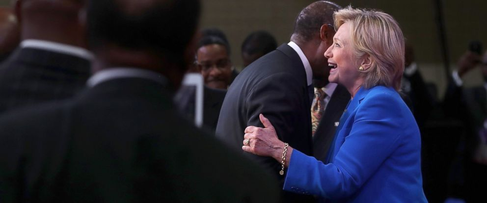 PHOTO: Democratic presidential candidate Hillary Clinton greets attendees during the 136th annual session of the National Baptist Convention, Sept. 8, 2016, in Kansas City, Missouri.
