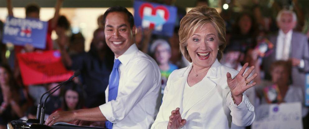"PHOTO: Secretary of Housing and Urban Development Secretary Julian Castro introduces Democratic presidential hopeful Hillary Clinton at a ""Latinos for Hillary"" grassroots event, Oct. 15, 2015 in San Antonio, Texas."