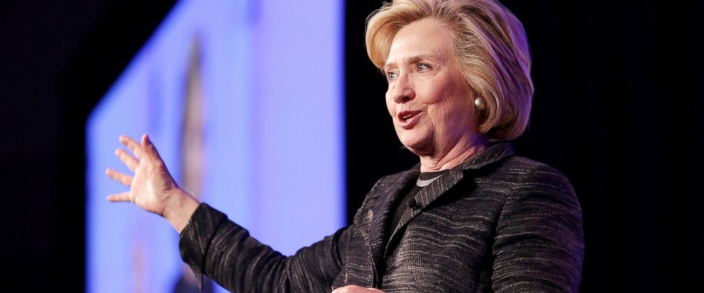 PHOTO: Former United States Secretary of State Hillary Clinton gives the keynote speech during LeadOn:Watermarks Silicon Valley Conference For Women at Santa Clara Convention Center on February 24, 2015 in Santa Clara, Calif.