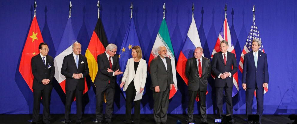 PHOTO: World leaders meet following an announcement on the Iran nuclear talks, April 2, 2015, in Lausanne, Switzerland.
