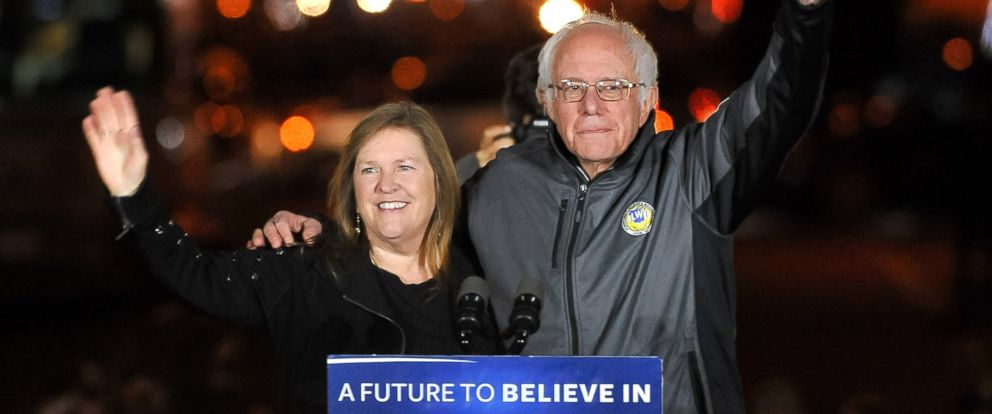PHOTO: U.S. Senator Bernie Sanders and his wife Jane Sanders wave to supporters at a campaign event, April 13, 2016, in New York City.