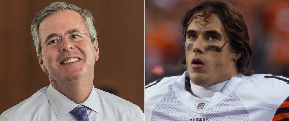 PHOTO: Jeb Bush is pictured on June 29, 2015 in West Columbia, S.C. Brady Quinn is pictured on Nov. 29, 2009.