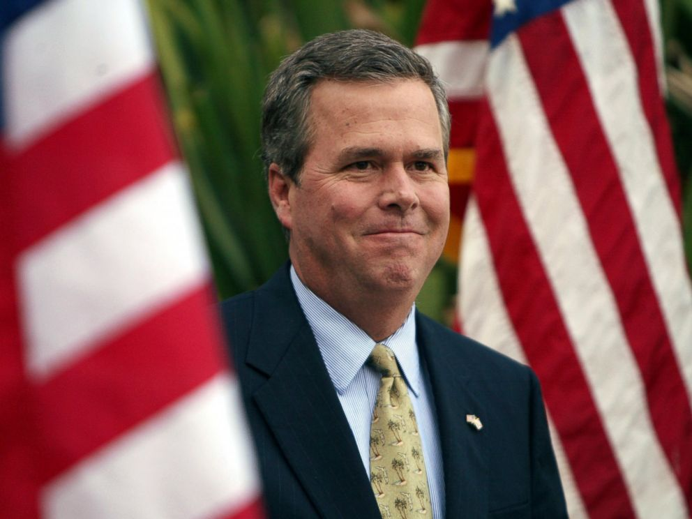 PHOTO: Florida Governor Jeb Bush delivers a stump speech in support of his brother President George W. Bush at the Southern Republican Leadership Conference, April 16, 2004 in Miami Beach, Fla.