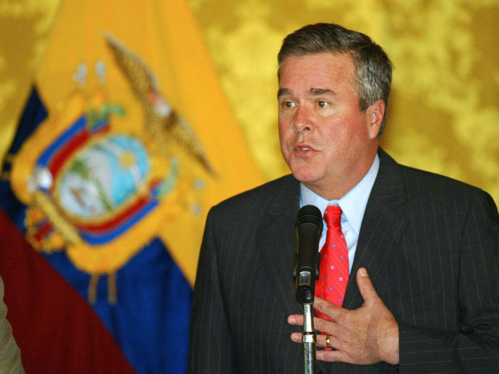 PHOTO: Floridas Governor Jeb Bush speaks during a press conference at the Carandolet Government Palace in Quito, Jan. 18, 2006.