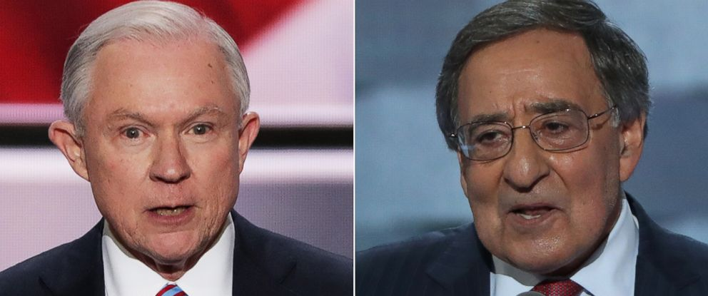 PHOTO: (L-R) Pictured are Sen. Jeff Sessions in Cleveland, July 18, 2016 and former Secretary of Defense Leon Panetta in Philadelphia, July 27, 2016.