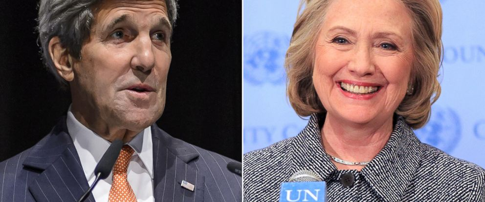 PHOTO: Secretary of State John Kerry in Lausanne, Switzerland, on March 21, 2015. | Hillary Clinton in New York City on March 10, 2015.