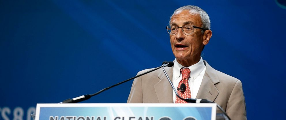 PHOTO: Former counselor to President Barack Obama John Podesta accepts the Clean Energy Project Founders Award during the National Clean Energy Summit 8.0 at the Mandalay Bay Convention Center, Aug. 24, 2015 in Las Vegas.
