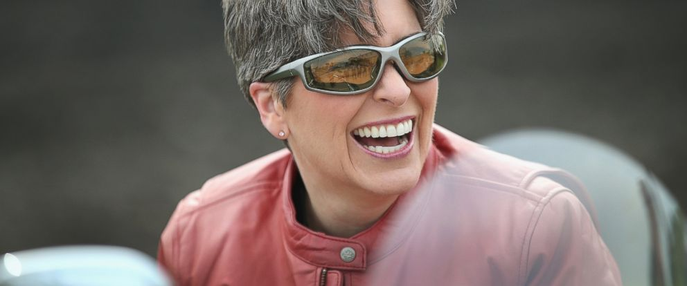 PHOTO: Freshman Senator Joni Ernst, R-IA, arrives at Big Barn Harley-Davidson for the start of her Roast and Ride event on June 6, 2015 in Des Moines, Iowa.