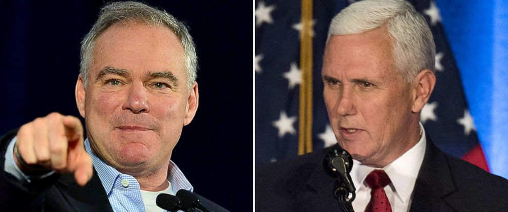 """PHOTO: Tim Kaine, left, and Mike Pence to appear on """"This Week."""""""