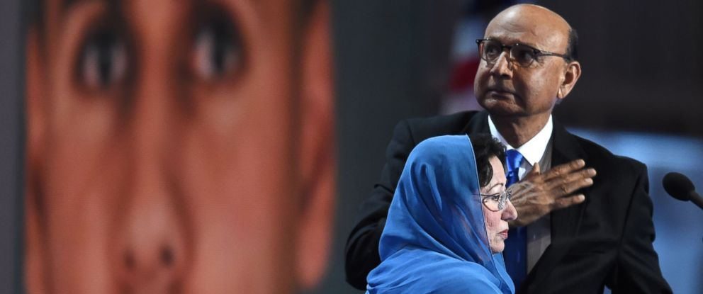 PHOTO: Khizr Khan, father of Humayun S. M. Khan, who was killed while serving in Iraq with the U.S. Army, gestures as his wife looks on at the Democratic National Convention at the Wells Fargo Center, July 28, 2016 in Philadelphia.