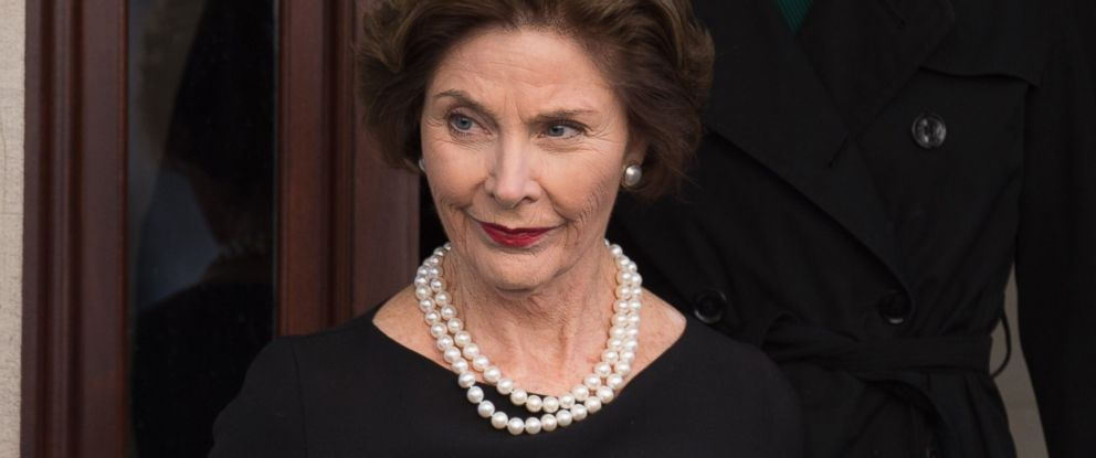 PHOTO: Laura Bush departs the funeral of fashion designer Oscar De La Renta at St. Ignatius Of Loyola on Nov. 3, 2014 in New York City.