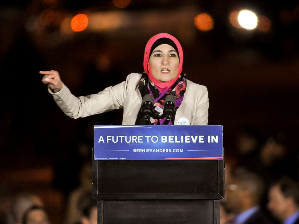 PHOTO: Arab American Association of New York executive director Linda Sarsour speaks onstage at a campaign event for Senator Bernie Sanders at Washington Square Park, April 13, 2016, in New York City.