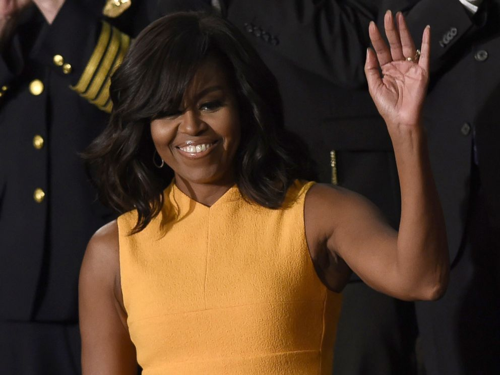 PHOTO: First Lady Michelle Obama waves before the arrival of President Barack Obama before the State of the Union Address during a Joint Session of Congress at the Capitol in Washington, Jan. 12, 2016.