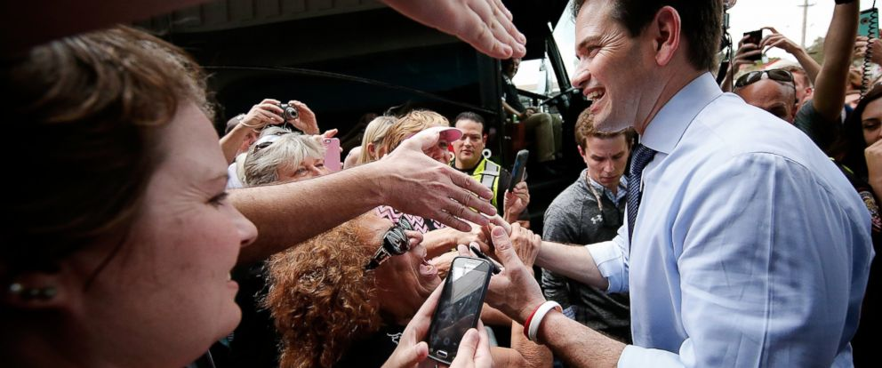 PHOTO: Republican presidential candidate Sen. Marco Rubio greets supporters while campaigning at That Little Restaurant, March 14, 2016, in Melbourne, Florida. Florida holds its presidential primary tomorrow.