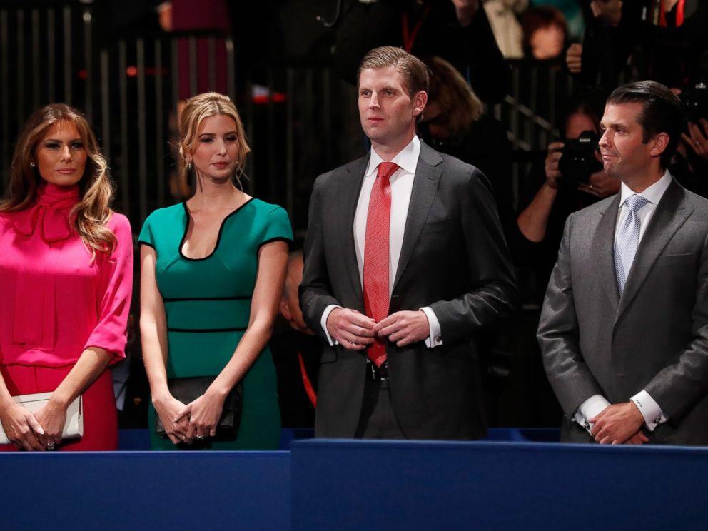 PHOTO: (L-R) Melania Trump, Ivanka Trump, Eric Trump and Donald Trump, Jr. attend the second presidential debate at Washington University, Oct. 9, 2016 in St Louis.