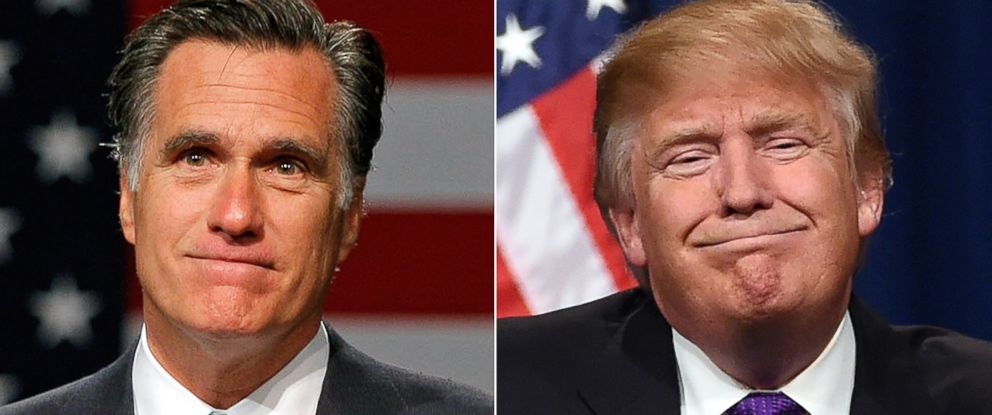 PHOTO: Pictured (L-R) are former Massachusetts Gov. Mitt Romney in Lansing, Mich., May 8, 2012 and Republican presidential candidate Donald Trump in Las Vegas, Feb. 23, 2016.