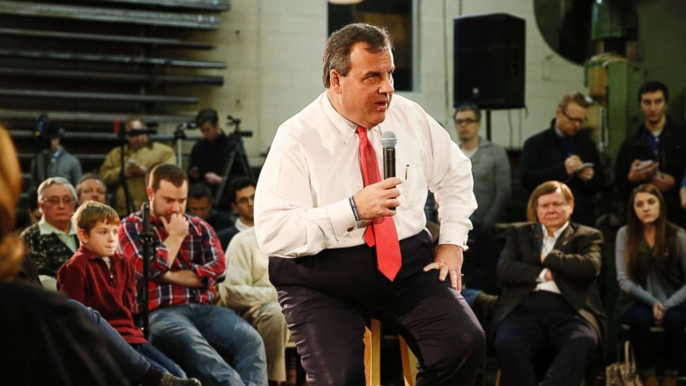 New Jersey Governor and Republican presidential candidate Chris Christie speaks at a town hall event at a metal fabrication company, Feb. 8, 2016, in Hudson, N.H.