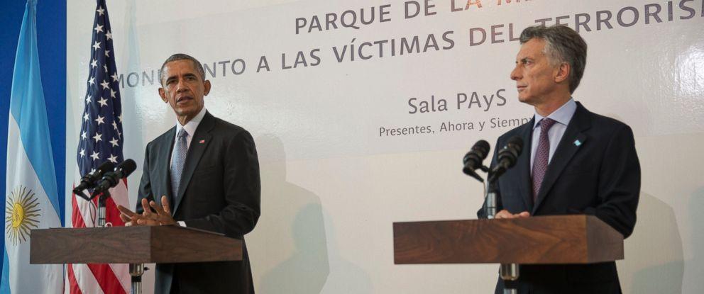 PHOTO:President Barack Obama and Argentine President Mauricio Macri participate in a joint statement at Parque de la Memoria (Remembrance Park) in Buenos Aires, Argentina, March 24, 2016.