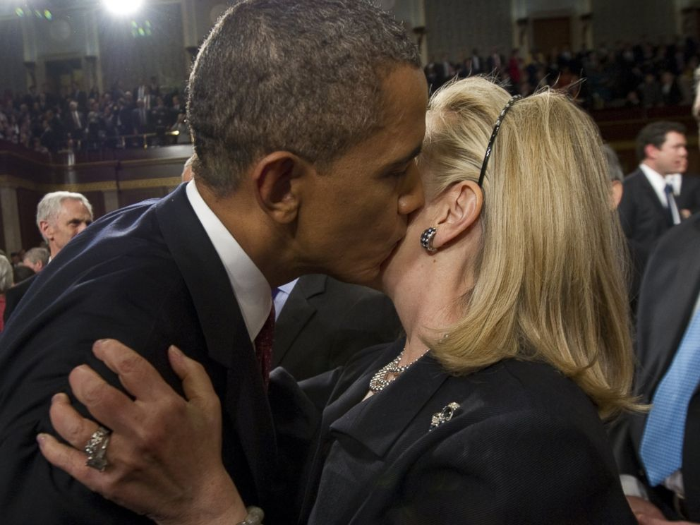 PHOTO: Barack Obama, left, greets Hillary Clinton, right, following the State of the Union address before a joint session of Congress on Capitol Hill on Jan. 24, 2012 in Washington, D.C.