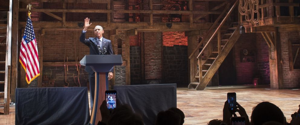 "PHOTO: President Barack Obama speaks during a Democratic fundraiser following a special performance of the Broadway show, ""Hamilton,"" at the Richard Rodgers Theatre in New York, Nov. 2, 2015."