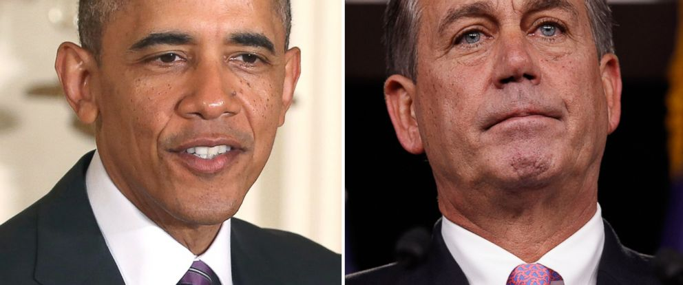 PHOTO: President Barack Obama speaks at the White House, June 25, 2014, in Washington. RIght, Speaker of the House Rep. John Boehner holds a news conference at the Capitol September 23, 2011, in Washington.
