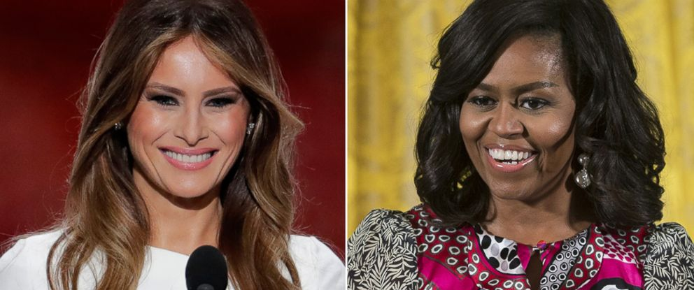 PHOTO: Melania Trump in Cleveland, Ohio, on July 18, 2016; Michelle Obama in Washington, Feb. 8, 2016.