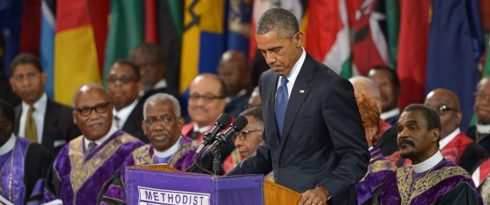 PHOTO: President Barack Obama delivers the eulogy during the funeral of Rev. Clementa Pinckney at the College of Charleston TD Arena, in Charleston, S.C., June 26, 2015.