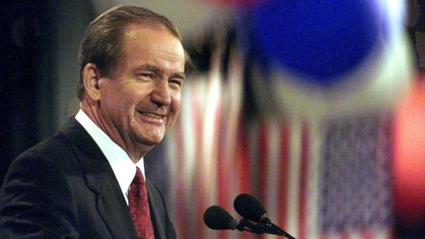 PHOTO: Reform Party presidential candidate Pat Buchanan smiles during his speech at the Reform Party National Convention in Long Beach, Calif. on Aug. 12, 2000.