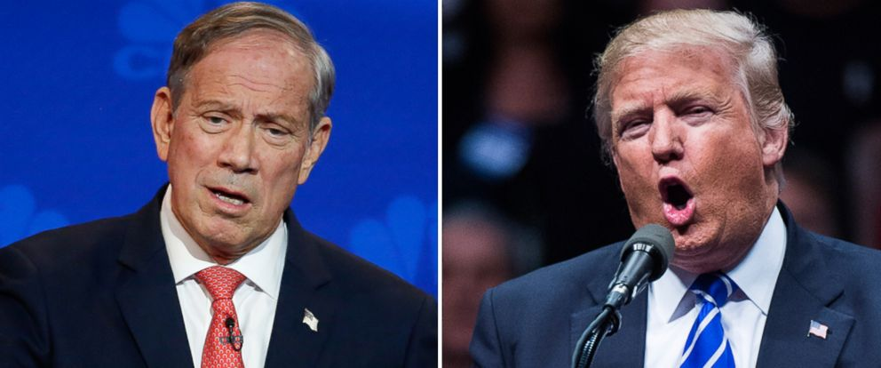PHOTO: George Pataki participates in a debate at the University of Colorado Boulder in Boulder, Colorado, Oct. 28, 2015. | Donald Trump speaks during a campaign event at the Times Union Center in Albany, New York, April 11, 2016.