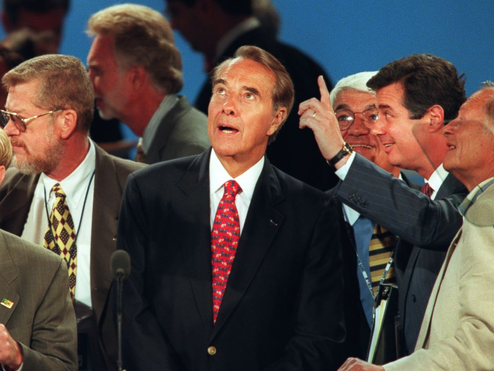 PHOTO: Republican presidential candidate Bob Dole looks up from the podium as convention center manager Paul Manafort, at right, points out preparations for Doles acceptance speech in San Diego, Aug. 15, 1996.