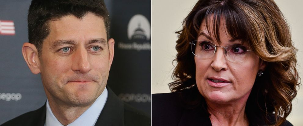 PHOTO: Pictured (L-R) in Washington are are House Speaker Paul Ryan on March 22, 2016 and Former Governor Sarah Palin on April 14, 2016.