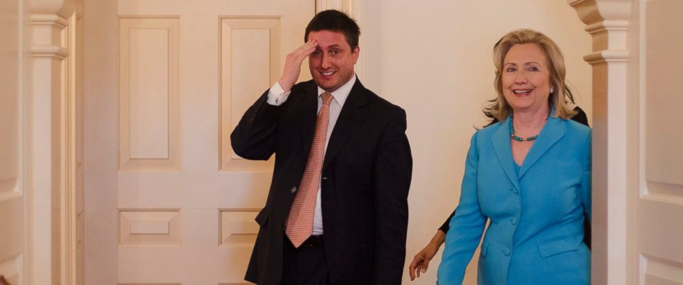 PHOTO: Philippe I. Reines is pictured with Secretary of State Hillary Clinton as she arrives to be interviewed by Katie Couric in Washington, May 19, 2011.