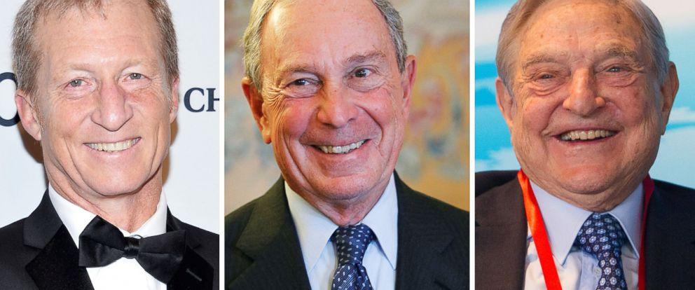 PHOTO: Billionaires Tom Steyer, Michael Bloomberg and George Soros are three of the top political donors of the 2014 midterms.