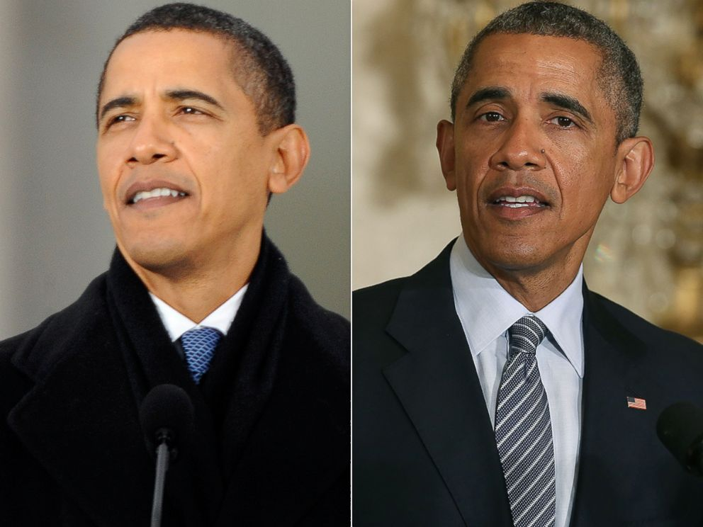 PHOTO: President Barack Obama is seen at the start of his presidency, left, and currently, right.