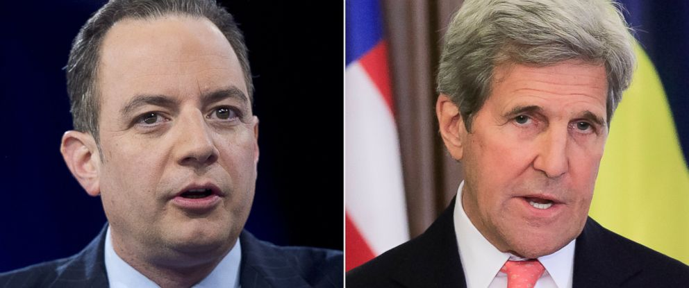 PHOTO: (L-R) Reince Priebus, Chairman of the Republican National Committee (RNC) in Oxon Hill, Maryland, March 4, 2016 and Secretary of State John Kerry in Kiev, Ukraine, July 7, 2016.