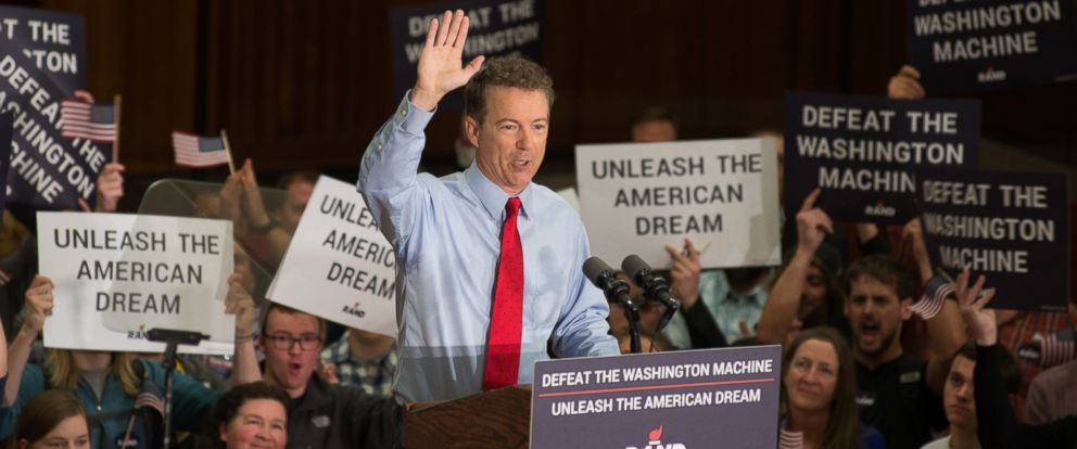 PHOTO: Sen. Rand Paul, R-KY, and GOP presidential hopeful continues his Stand by Rand tour at the University of Iowa campus, April 10, 2015 in Iowa City.