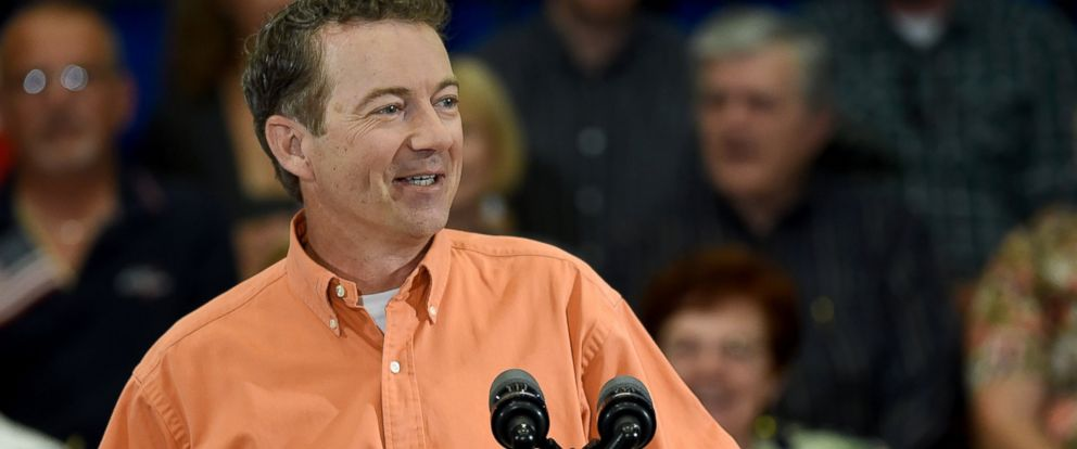 PHOTO: Rand Paul speaks during a rally at the Desert Vista Community Center, April 11, 2015, in Las Vegas.