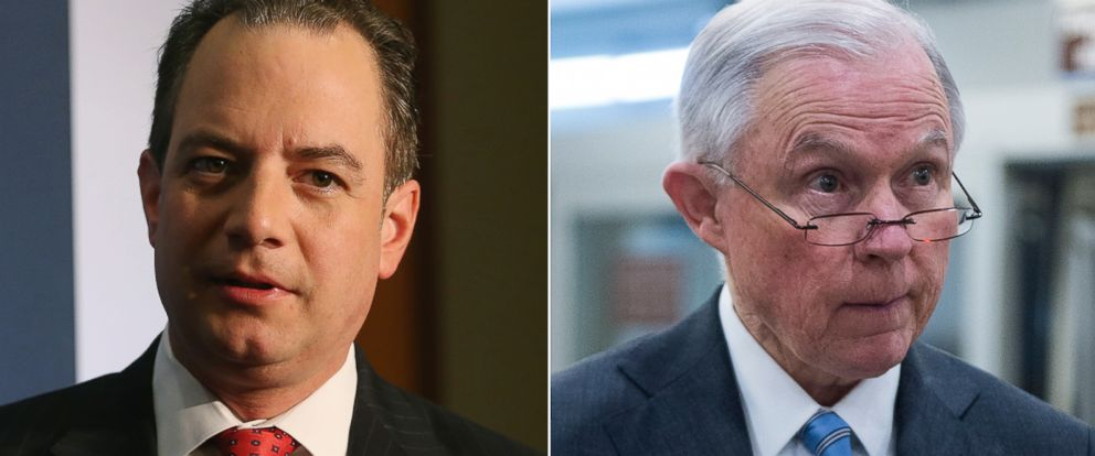 PHOTO: Pictured (L-R) are DNC Chairman Reince Priebus in Washington, May 6, 2016 and Sen. Jeff Sessions in Washington, Jan. 27, 2016.